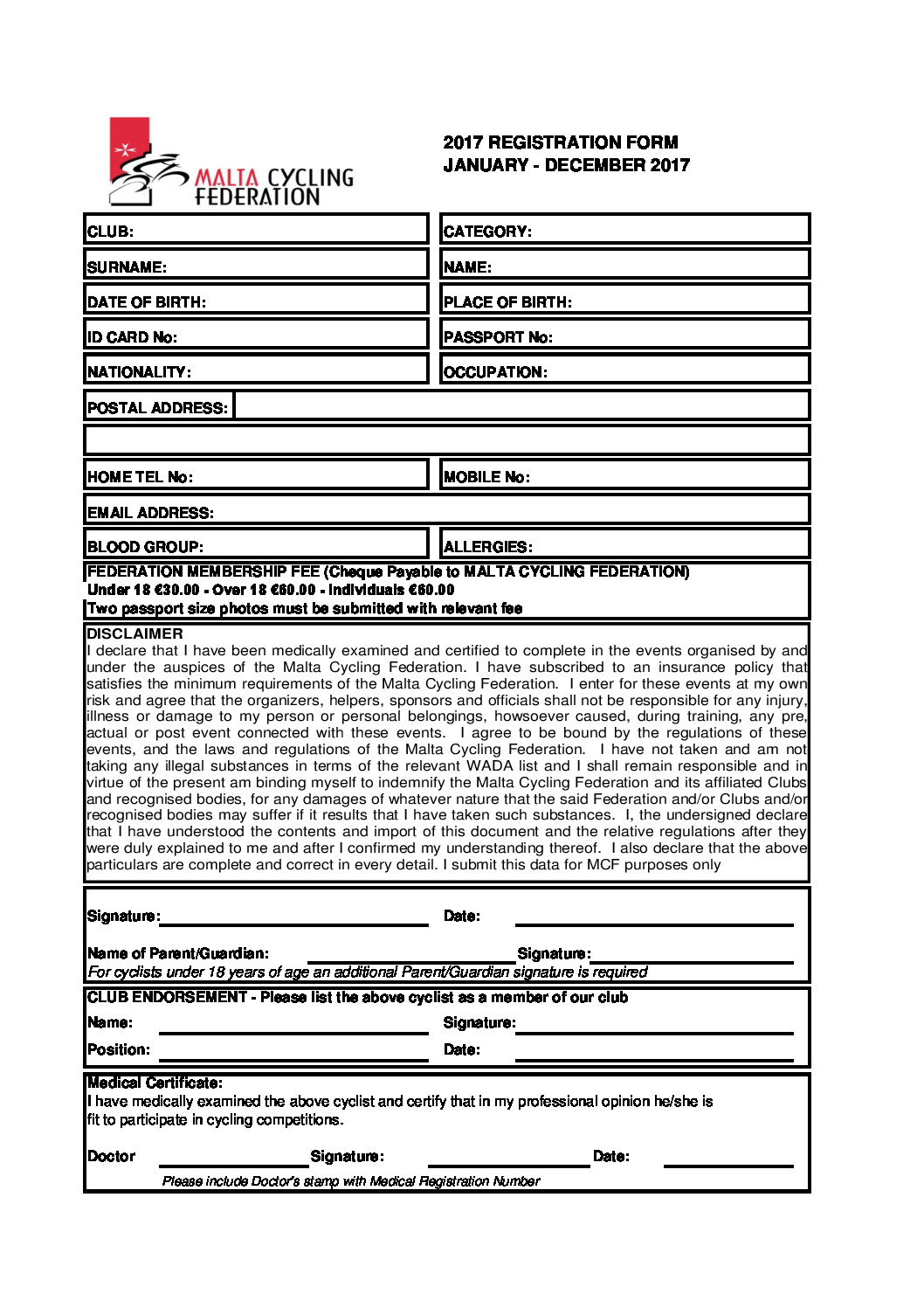 MCF Application Form